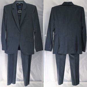 Faconnable 2 pc Charcoal Grey 100% Wool Suit Sz 6